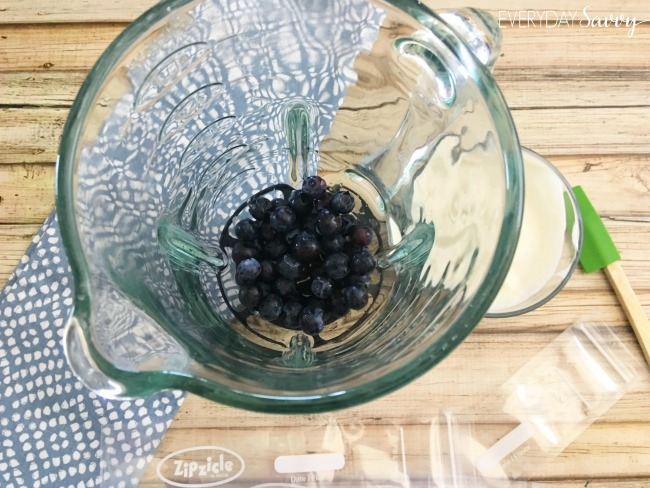 Fresh berries in the blender to make your own DIY squeeze yogurts