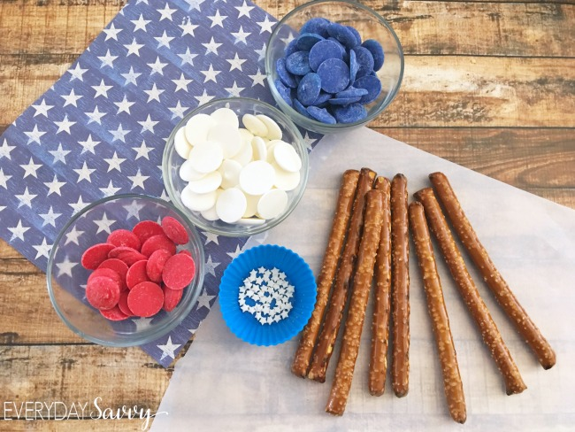 Red white and blue pretzel flag ingredients