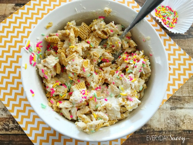 Cake batter Puppy Chow Recipe - Mix in the sprinkles perfect for a birthday party