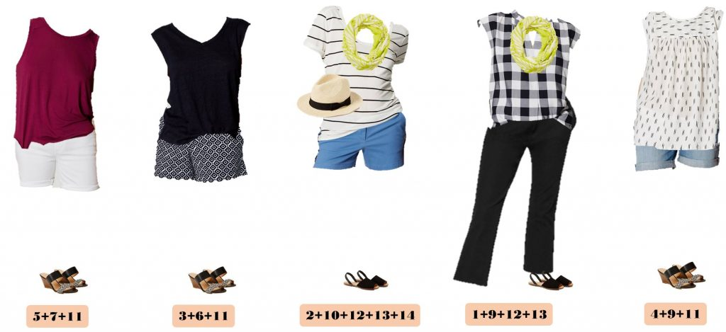 Check out this fun summer capsule with items from Loft. I love the patterned shorts and the gingham top. These outfits would be great for a summer vacation! Great summer outfit collection. Easy to wear style.
