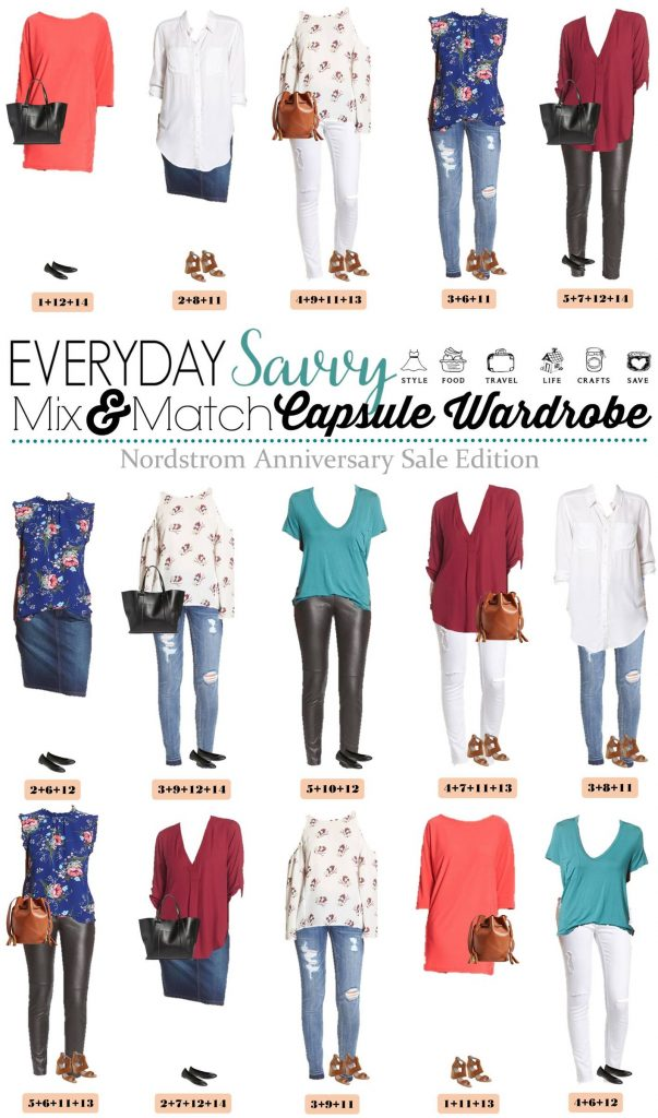 Check out this fun Nordstrom capsule wardrobe featuring items from the Nordstrom Anniversary Sale. Includes outfits to wear in the summer & fall!