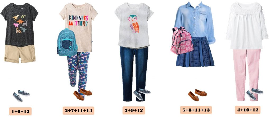 Fun fall back to school capsule wardrobe for girls with items from Target. When you buy these 14 pieces you have 15 mix and match back to school outfits. Includes cute arrow leggings, adorable tees and even 2 backpacks!
