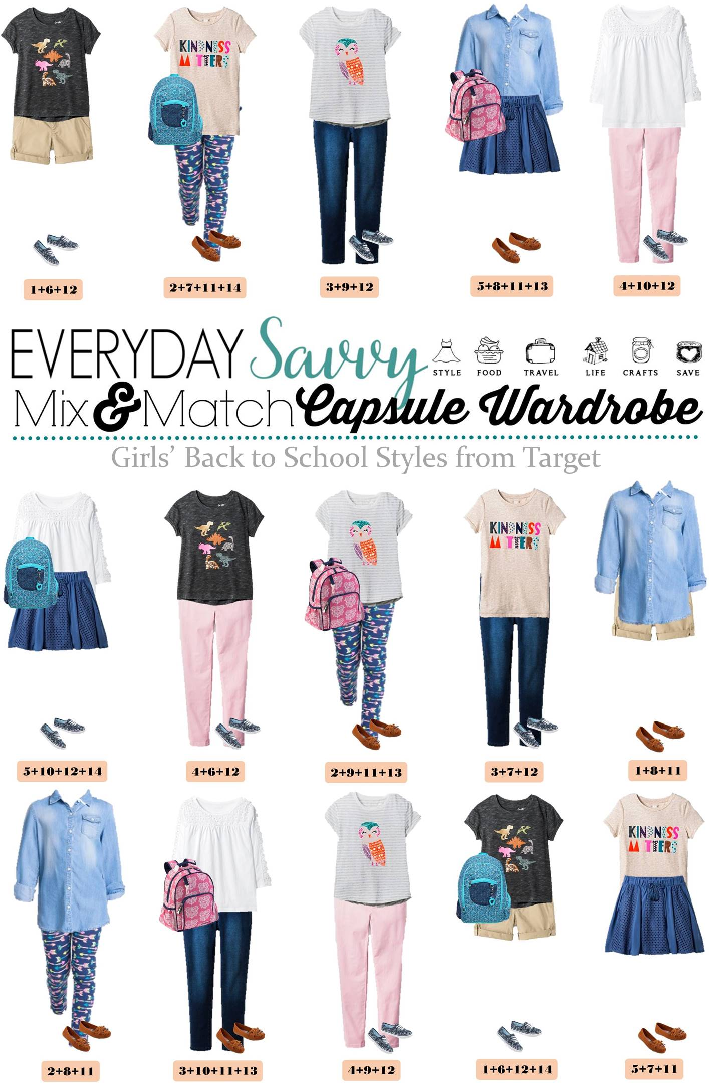 Girls Back To School Capsule Wardrobe - Mix and Match Outfits