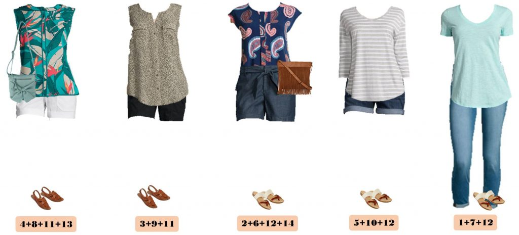 Check out this JCPenney Summer Outfits Mini Capsule wardrobe. This capsule is fun and easy to wear. I am loving the bright colors and patterns of these JCPenney summer outfits. You will look great at most any occasion from hanging out with the kids at the park to a casual dinner date! The cute Fringe Crossbody Bag is great for your summer on the go lifestyle.