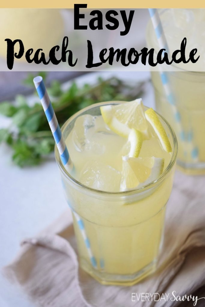Check out this easy peach lemonade recipe made with just a few simple fresh ingredients. - Lemon Juice, peach & agave nectar. This is the perfect summer refreshing drink.