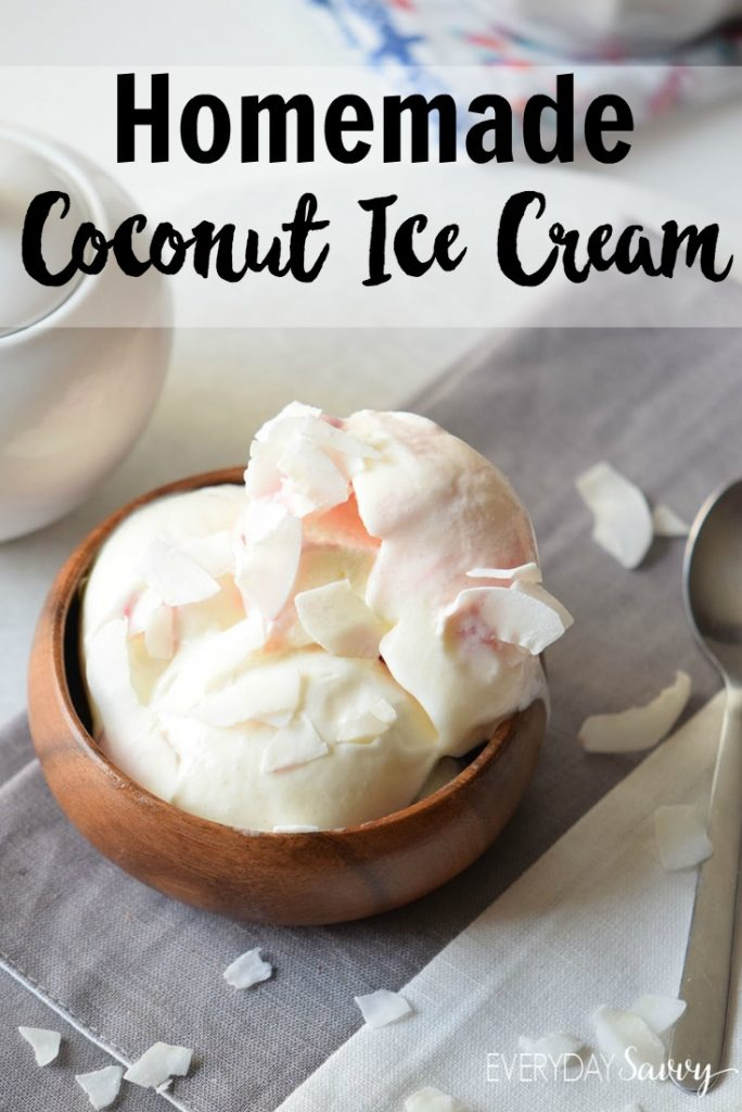 This homemade coconut ice cream recipe is made with just a few simple ingredients. The ice cream at the store tends to full of ingredients that I can't pronounce which I am trying to avoid. You can feel good about eating this homemade ice cream and feeding it to your family.