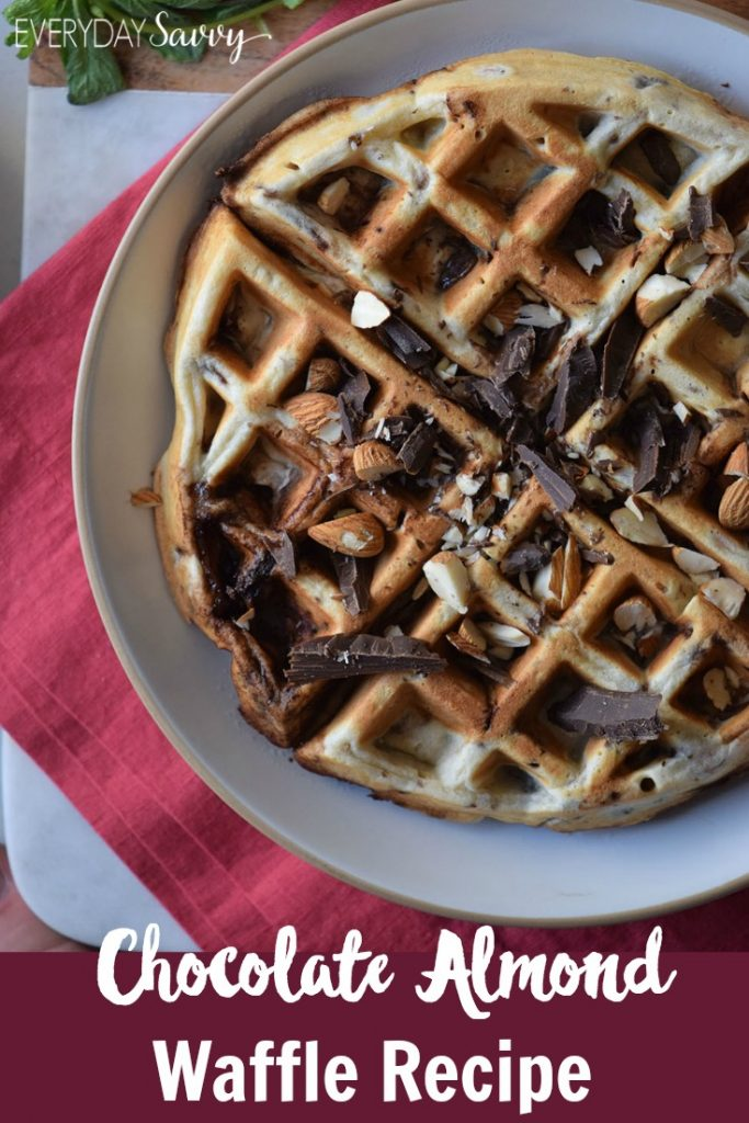 This chocolate almond gluten free waffle recipe is so easy to make with just a few simple ingredients. Plus these waffles are freezer friendly and can be frozen for up to 3 months. Make up a big batch today and have homemade gluten free waffles all week.
