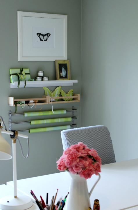 Check out this amazing home office makeover with the Ikea Home Tour. Includes affordable design ideas for the home office. Fun and functional makeover. Tons of storage ideas, a drop zone, command center and a gift wrapping station.