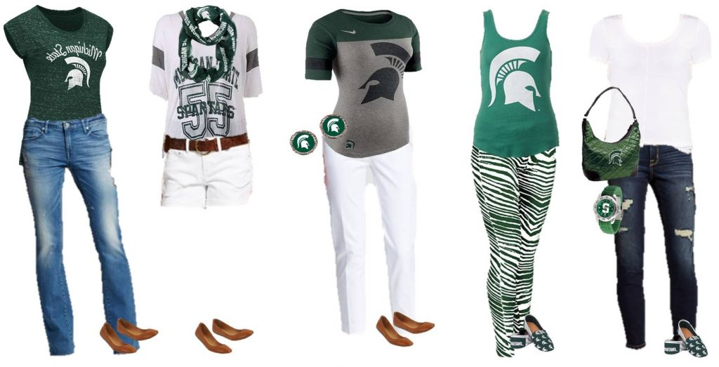 Fun Michigan State Clothing and Mix and Match outfits for game day. Also includes Michigan State Accessories and Michigan State Fan Gift Ideas. Many items available for other NCAA schools as well.