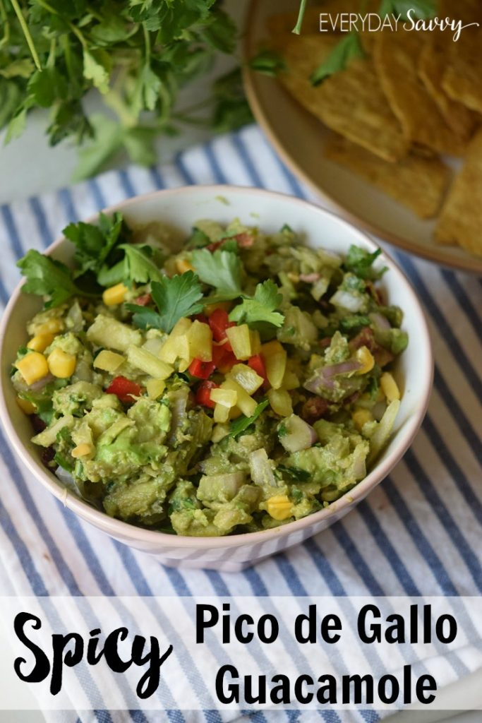 Yummy and Easy Spicy Pico De Gallo Guacamole recipe. Fresh and flavorful with just a few simple ingredients. Service with tortilla chips as an appetizer at your next party.
