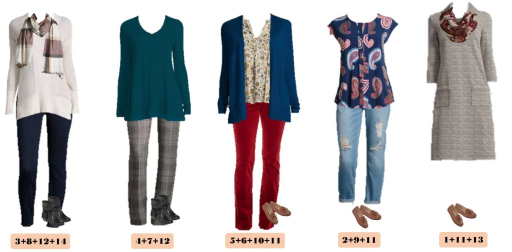 Here is a new JCPenney capsule wardrobe for Fall. It includes outfits for casual fall events and even dressier occasions. I love the cowlneck dress that could even be worn with leggings! The plaid pants and paisley shirt are so fun too. I love the rich jewel tones of this fall capsule wardrobe!