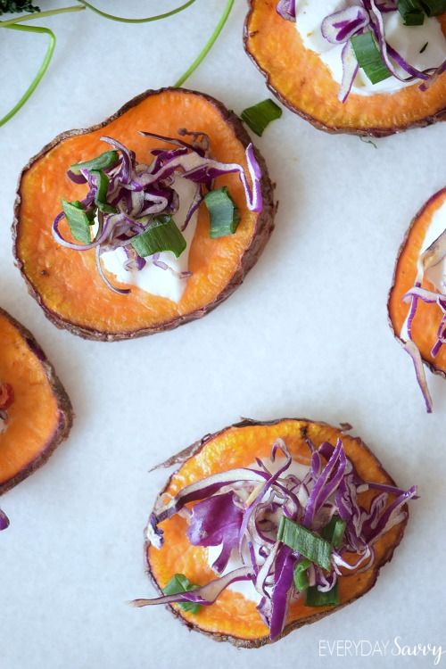 This Sweet Potato Crisps with Slaw recipe is the easiest most flavorful appetizer ever and they are also a total crowd favorite.