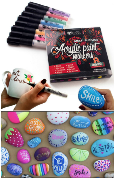 acrylic paint makers and rocks painted with markers