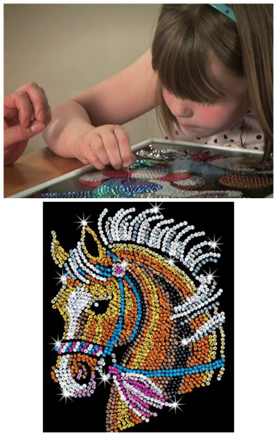 Sequin art horse and girl making sequin art