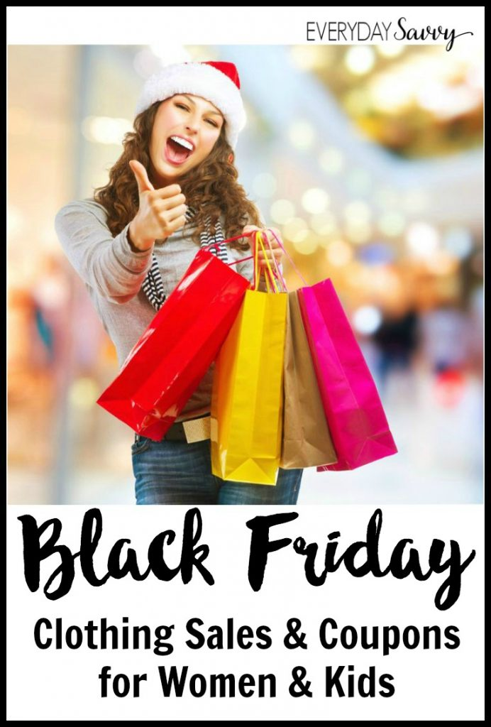 Black Friday Clothing sales are a great time to get deals on clothing for you and your family. Some stores have 50% off! See all the sales and coupon codes here. List is updated each year so be sure to pin for later.