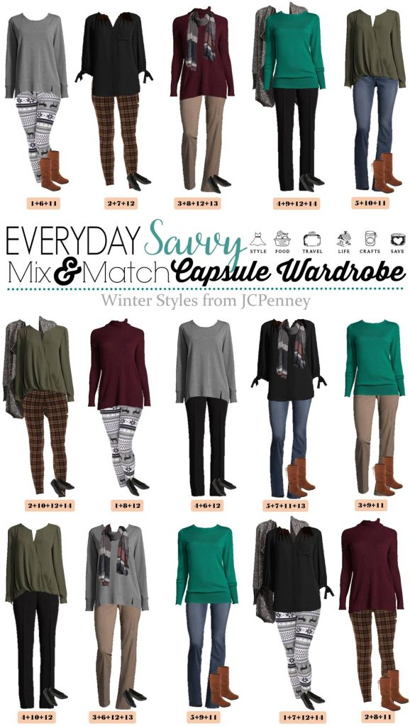 This JCPenney capsule wardrobe is comfy and casual but helps your still look put together and cute!15 mix & match outfits included.