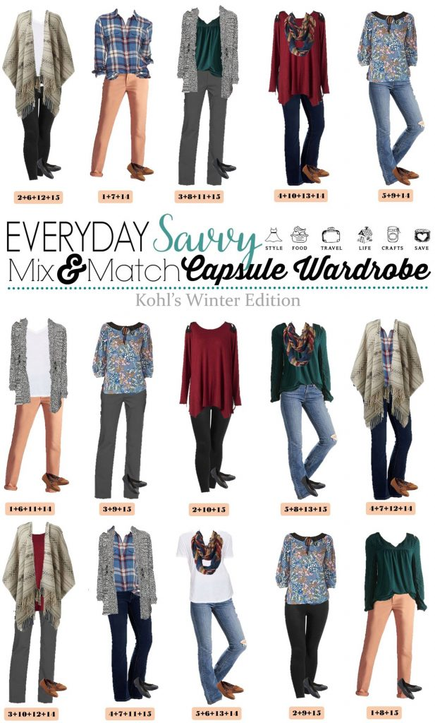 Kohl's winter capsule wardrobe.Fun poncho, plaid shirt & comfy cardigan. Mix and match for 15 outfits with lots of color and style.