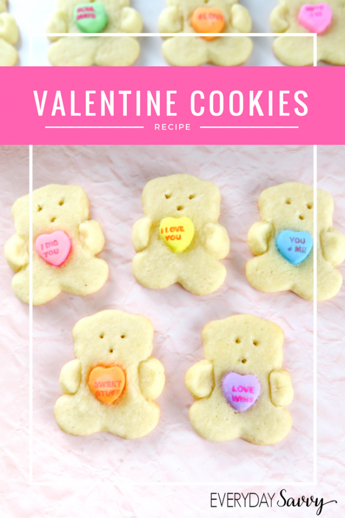 This Valentine Day Sugar Cookie recipe w/ bears holding conversation hearts. Very easy to make and so fun that the kids will help
