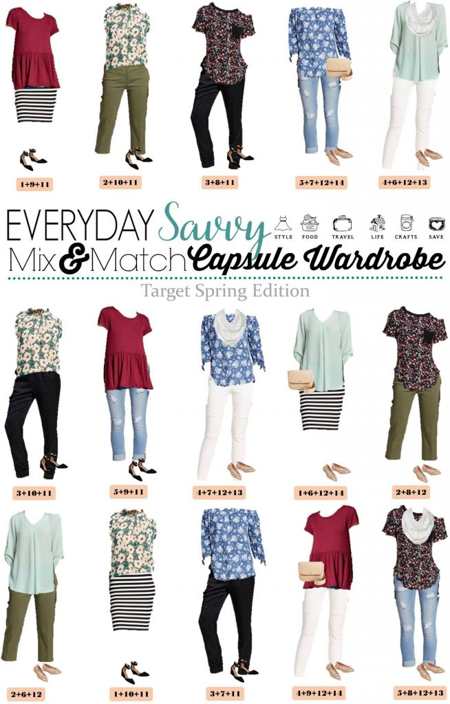 Fun Spring Target Capsule Wardrobe updated for 2017. Casual and cute mix and match outfits that are fun and frugal.