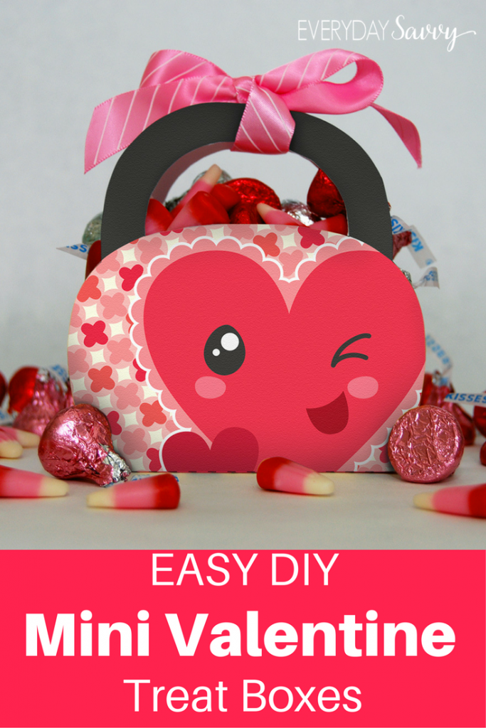 Mini Valentine Treat Boxes with Valentine's Day candy - pick Hershey kisses & candy corn