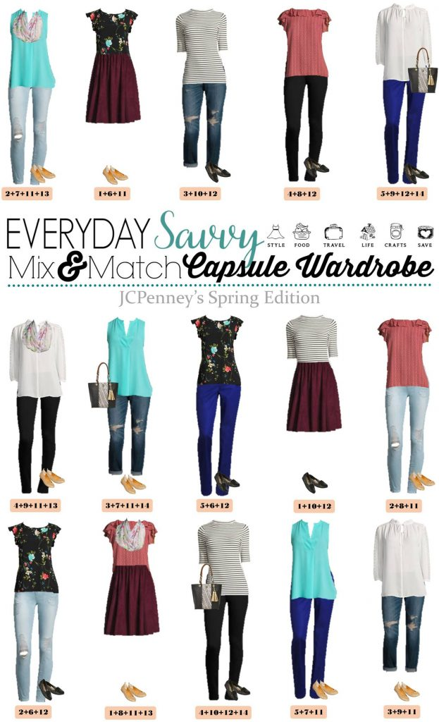 New JCPenney Capsule Wardrobe for Spring. This capsule is fun and includes floral, stripes and pops of color. Great outfits for every day and date night.