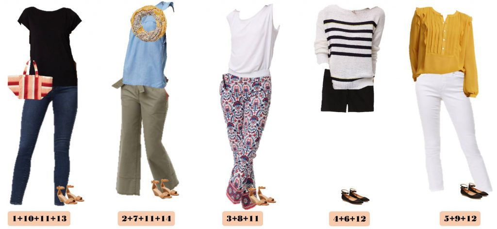 Fun new spring Loft capsule wardrobe with great mix and match outfits. This capsule includes a mustard top, chambray and fun stripes and floral.