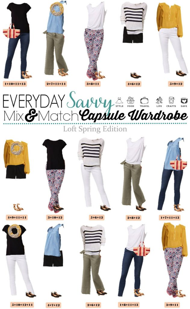 Fun new Loft spring capsule wardrobe with great mix and match outfits. This capsule includes a mustard top, chambray and fun stripes and floral.