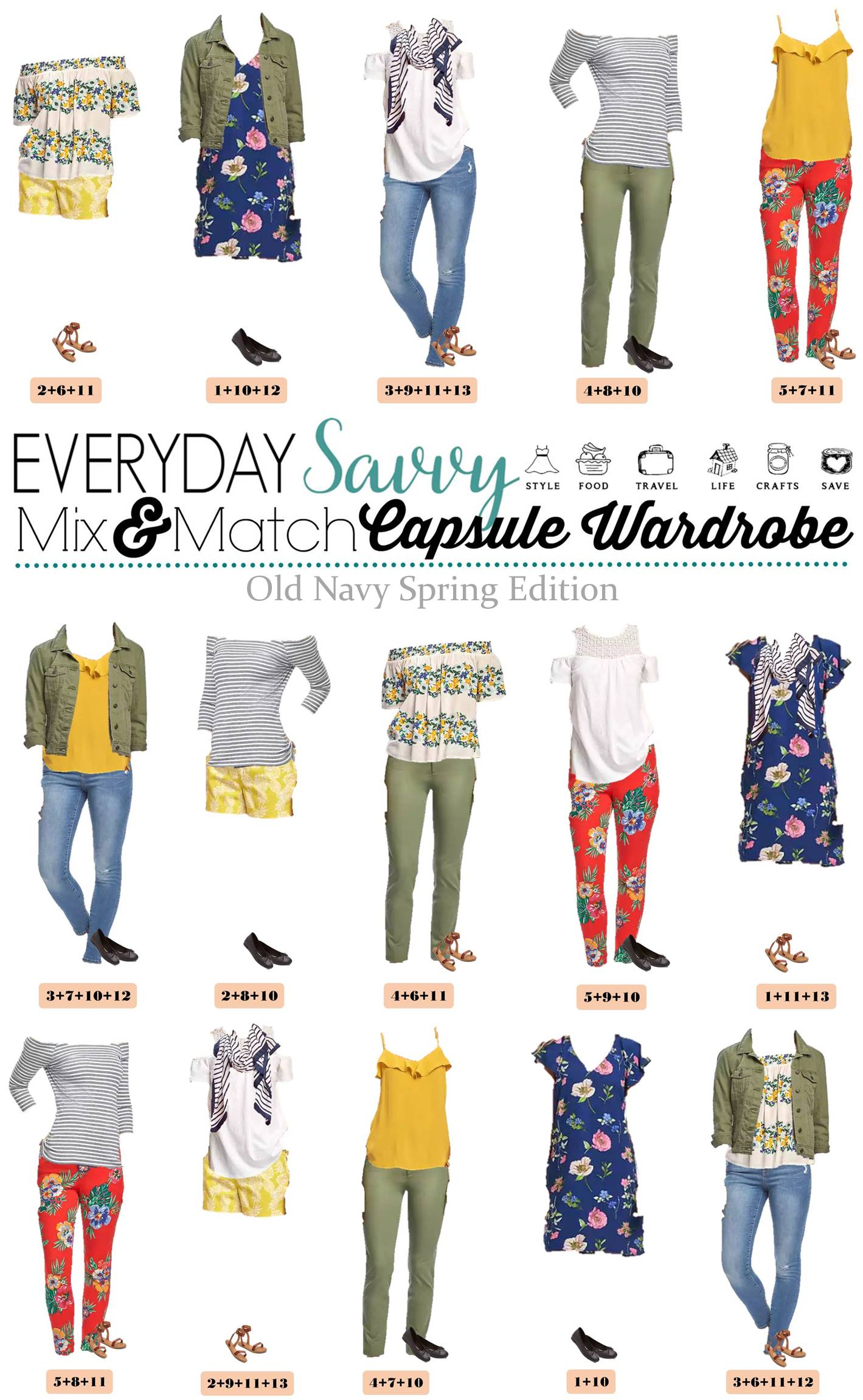 Spring Old Navy Capsule Wardrobe - Mix u0026 Match Outfits