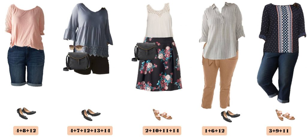 Check out these cute and affordable plus size spring outfit ideas from Kohls. These pieces 15 and match for 15 outfits for spring.