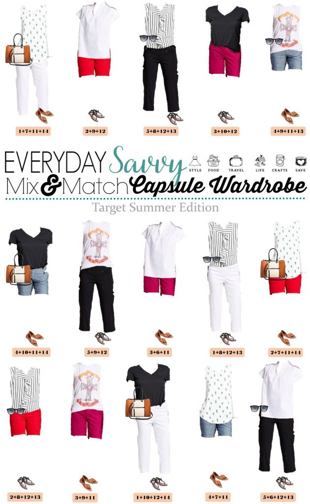 Here is a new Target Summer Capsule wardrobe. It includes cute shorts, tank tops, tees and fun prints. This makes is easy to look great this summer.