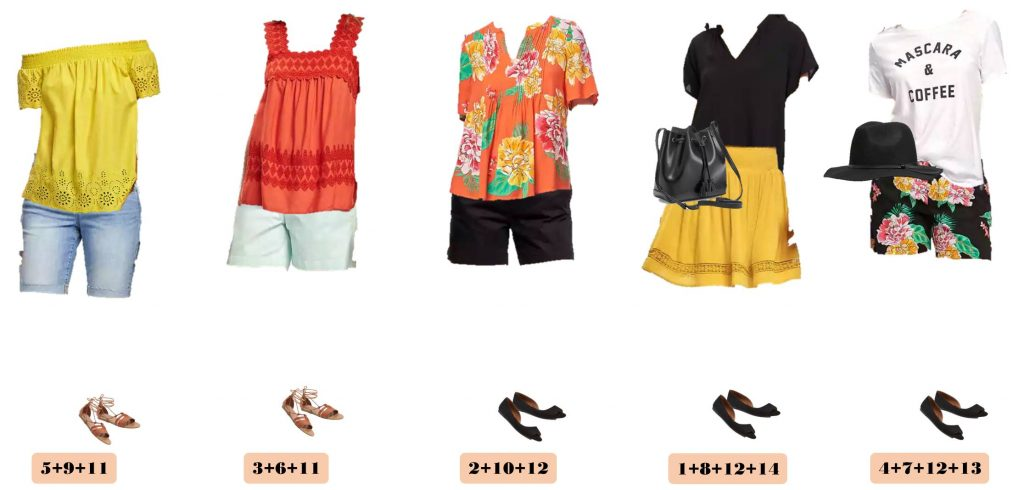 Old Navy Summer Capsule Wardrobe includes shorts, graphic tee, off the shoulder top and more