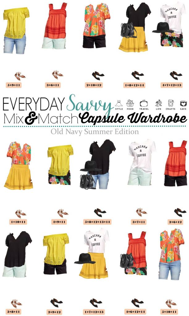 Old Navy Summer Capsule Wardrobe includes shorts, graphic tee, off the shoulder top and more. These pieces make 15 mix and match outfits.