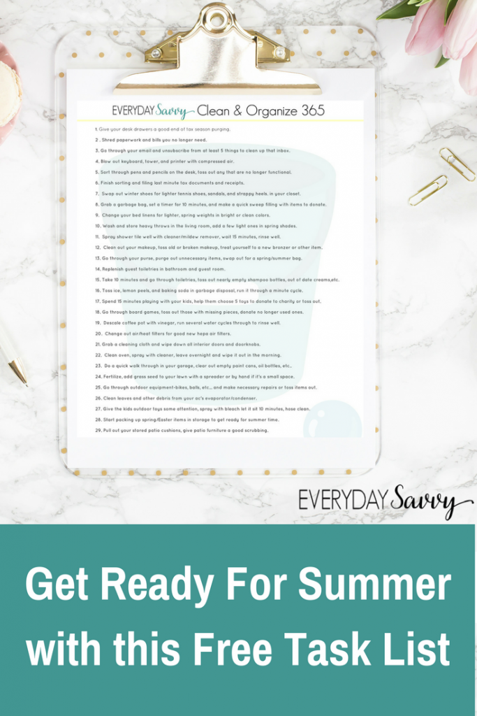 Get Ready for Summer with this easy printable task list. These tasks will have you all ready to enjoy summer this year without running around later.