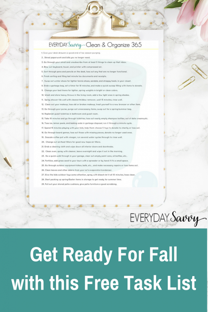 Tackling these easy tasks for just minutes a day will have you and your home ready for fall and back to school. Includes free printable task list.