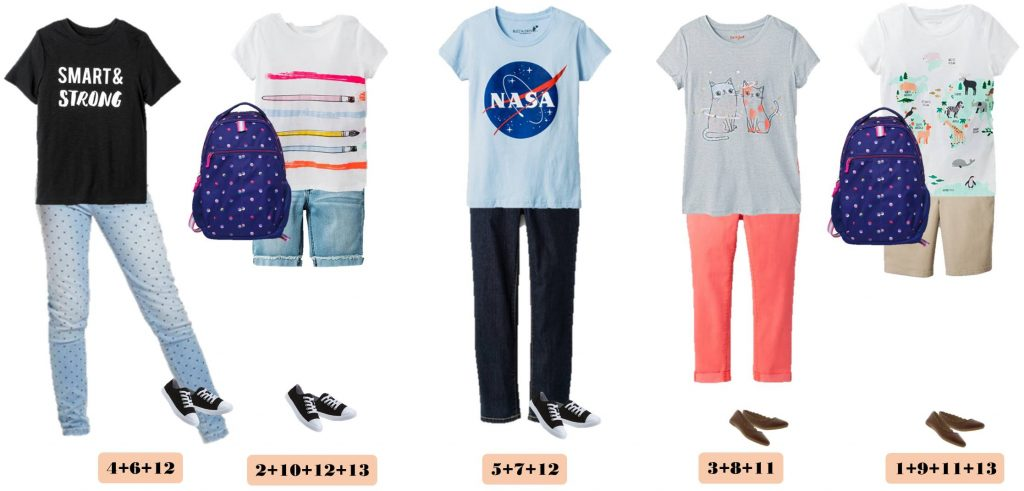 Fun fall back to school capsule wardrobe for girls with items from Target. When you buy these 13 pieces you have 15 mix and match back to school outfits. Includes cute arrow leggings, adorable tees and even a backpack!