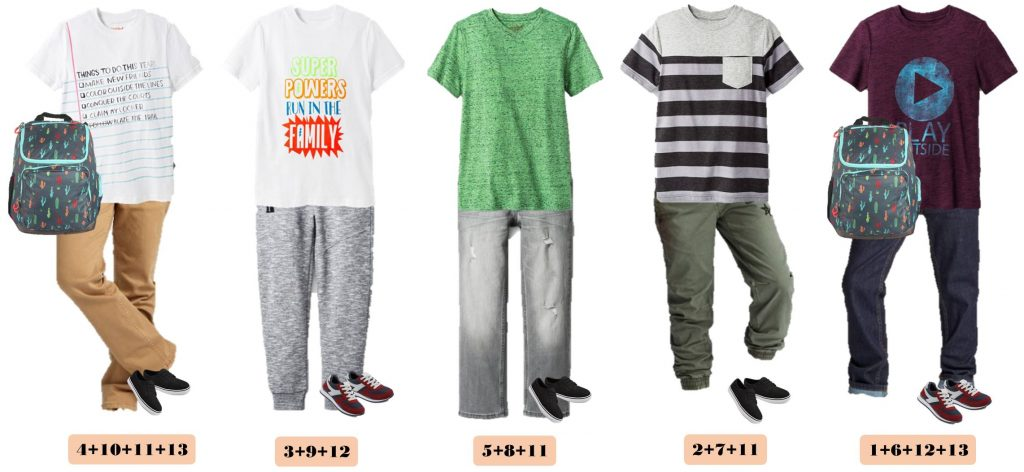 Back School Shopping is easy with these boys mix and match outfits for school. 15 Mix and Match outfits that are perfect for school.