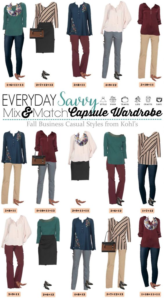 Here is a Business Casual Capsule Wardrobe for Fall with items from Kohls. These pieces mix and match for 15 great outfits for the office.