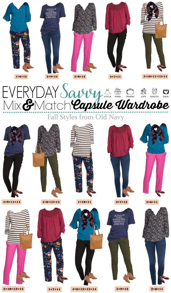 Fun new Old Navy Fall Capsule Wardrobe. It includes fun prints and rich warm colors. You will be ready for fall with this fun fall capsule collection.