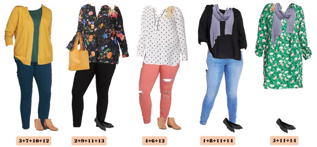 I love this new Old Navy plus size capsule wardrobe fall. It includes colored jeans, fun printed tops, and a great dress!