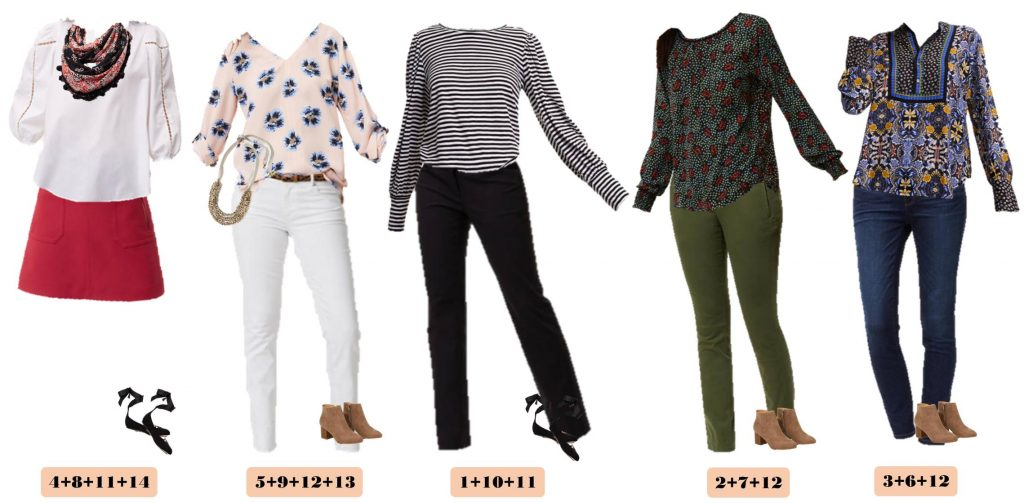 Mix and Match Fall Outfits from the Loft with floral, stripes, olive pants and more. These pieces mix and match to make 15 fall outfits from Loft.