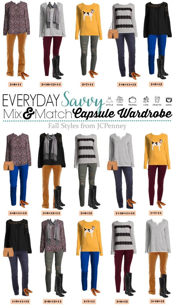 Here is a new JCPenney capsule wardrobe for Fall. These mix and match outfits will have you looking great for all your fall casual events.