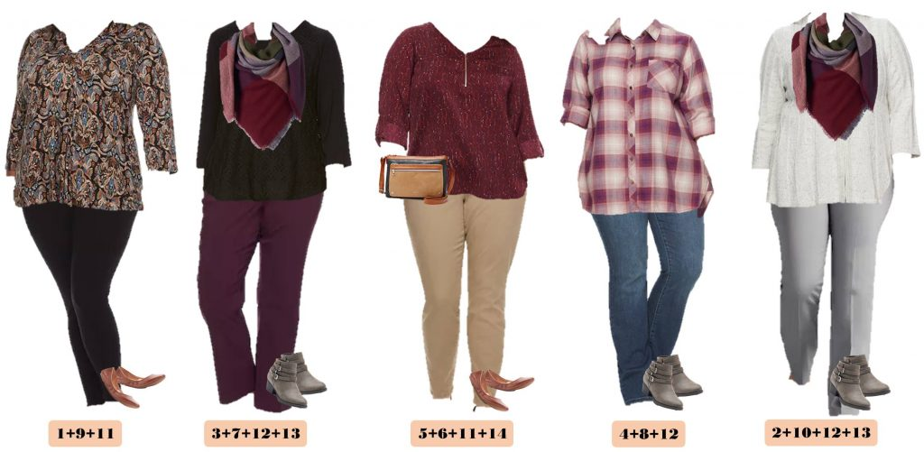 Check out these super cute fall plus size outfits from Kohls. The pieces mix and match for 15 outfits that make a mini capsule wardrobe.
