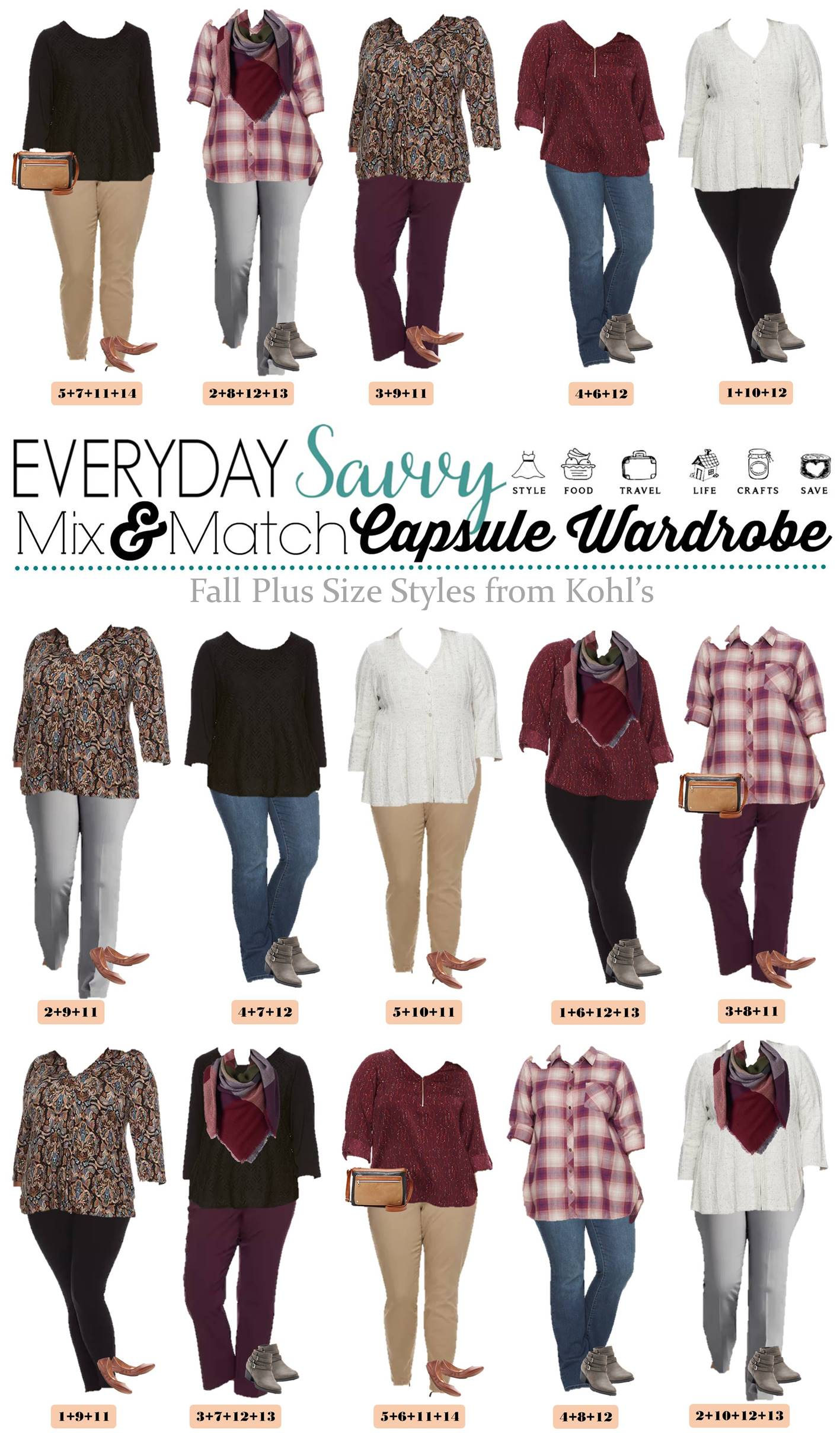 Fall Plus Size Outfits From Kohls - Mini Capsule Mix & Match