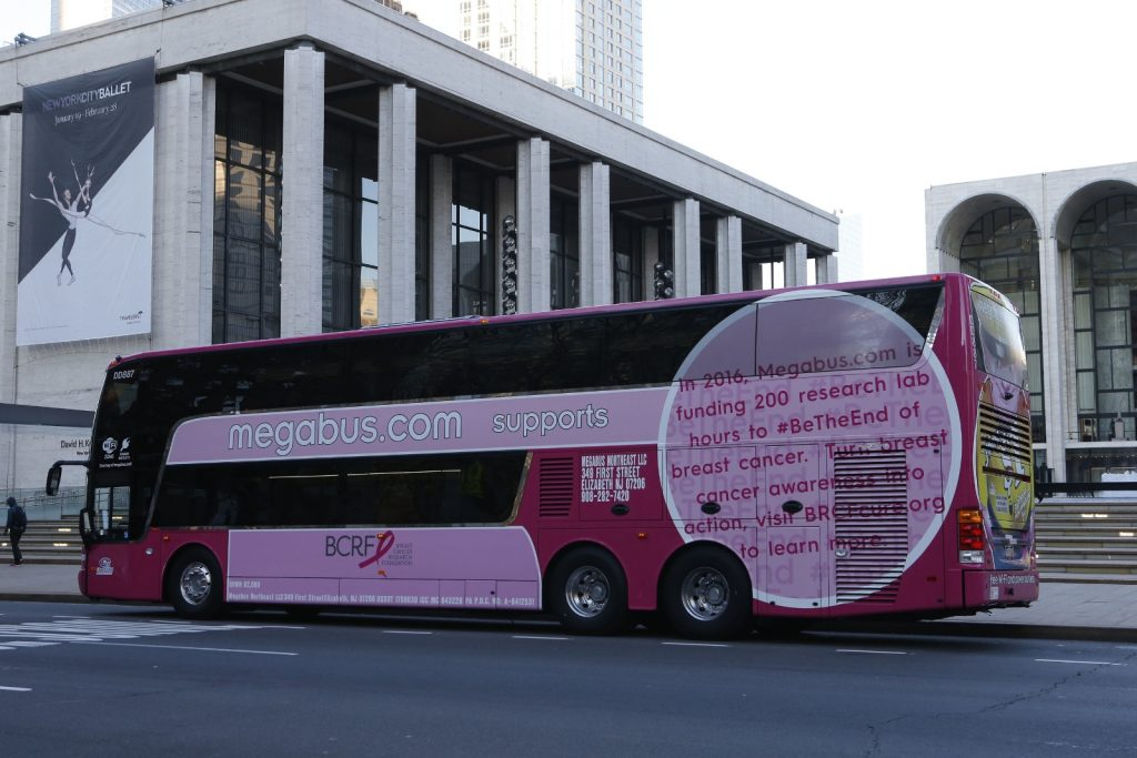 Megabus contest for a weekend getaway with literally a busload of friends and family and support breast cancer research.