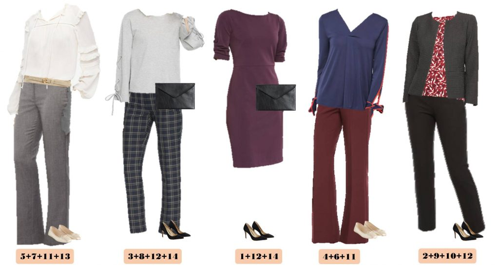 This Ann Taylor business casual capsule wardrobe will have you looking great at work. It includes some pops of color and fun patterns.