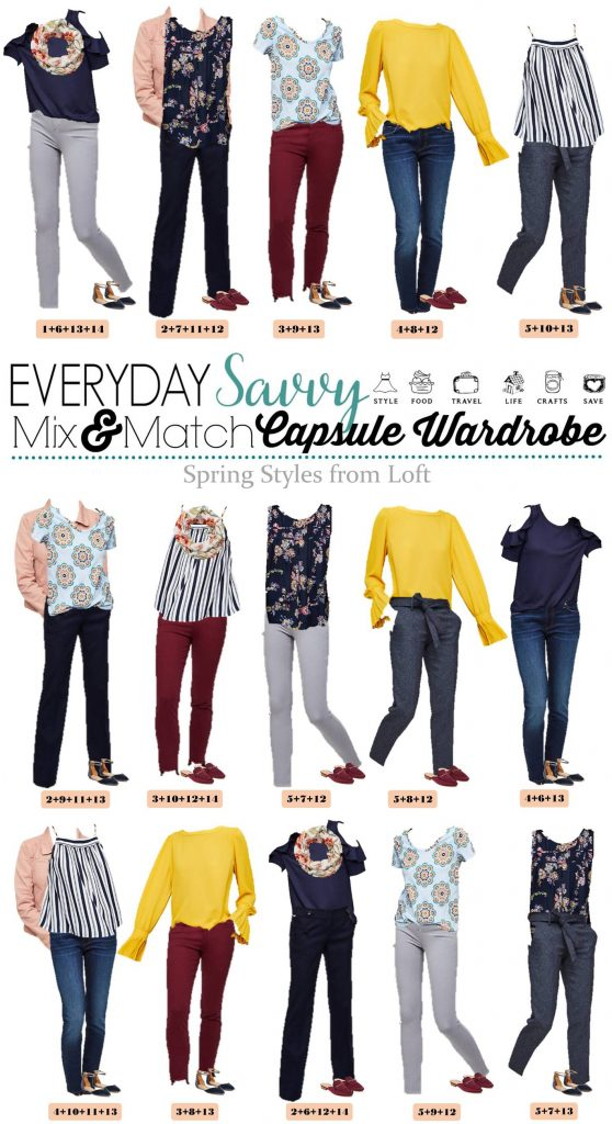Fun new Loft spring capsule wardrobe with great mix and match outfits. This capsule includes a yellow top, pink denim jacket and fun stripes and floral.