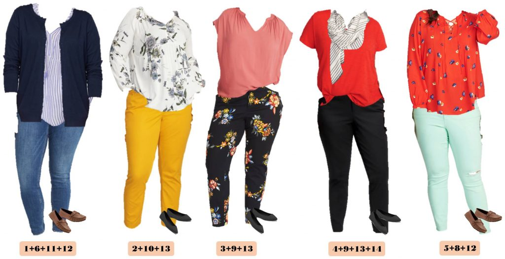 5 spring Old Navy plus size outfits - floral tops, floral pants and bright yellow pants