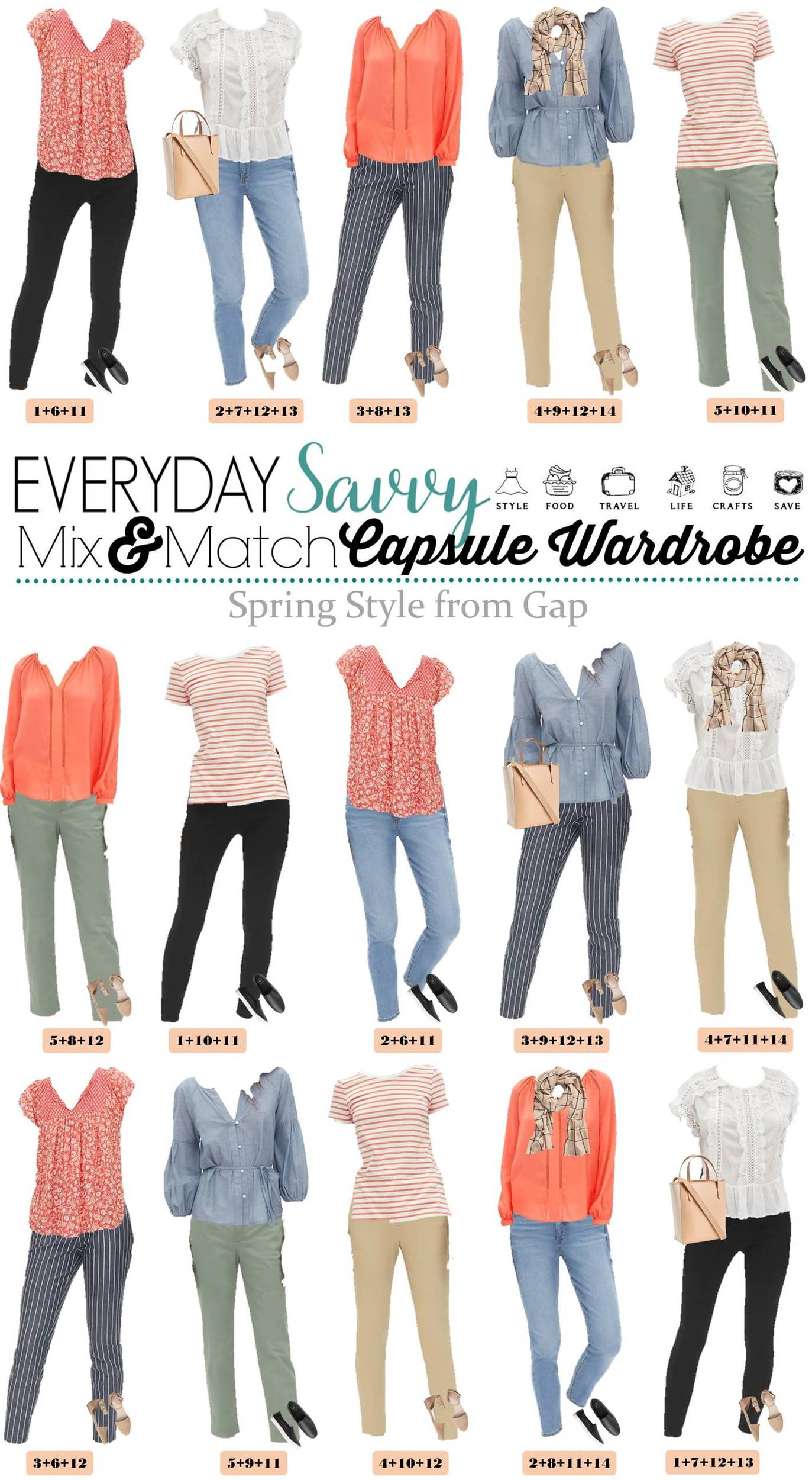 cute sprig outfits - floral tops, striped pants and more