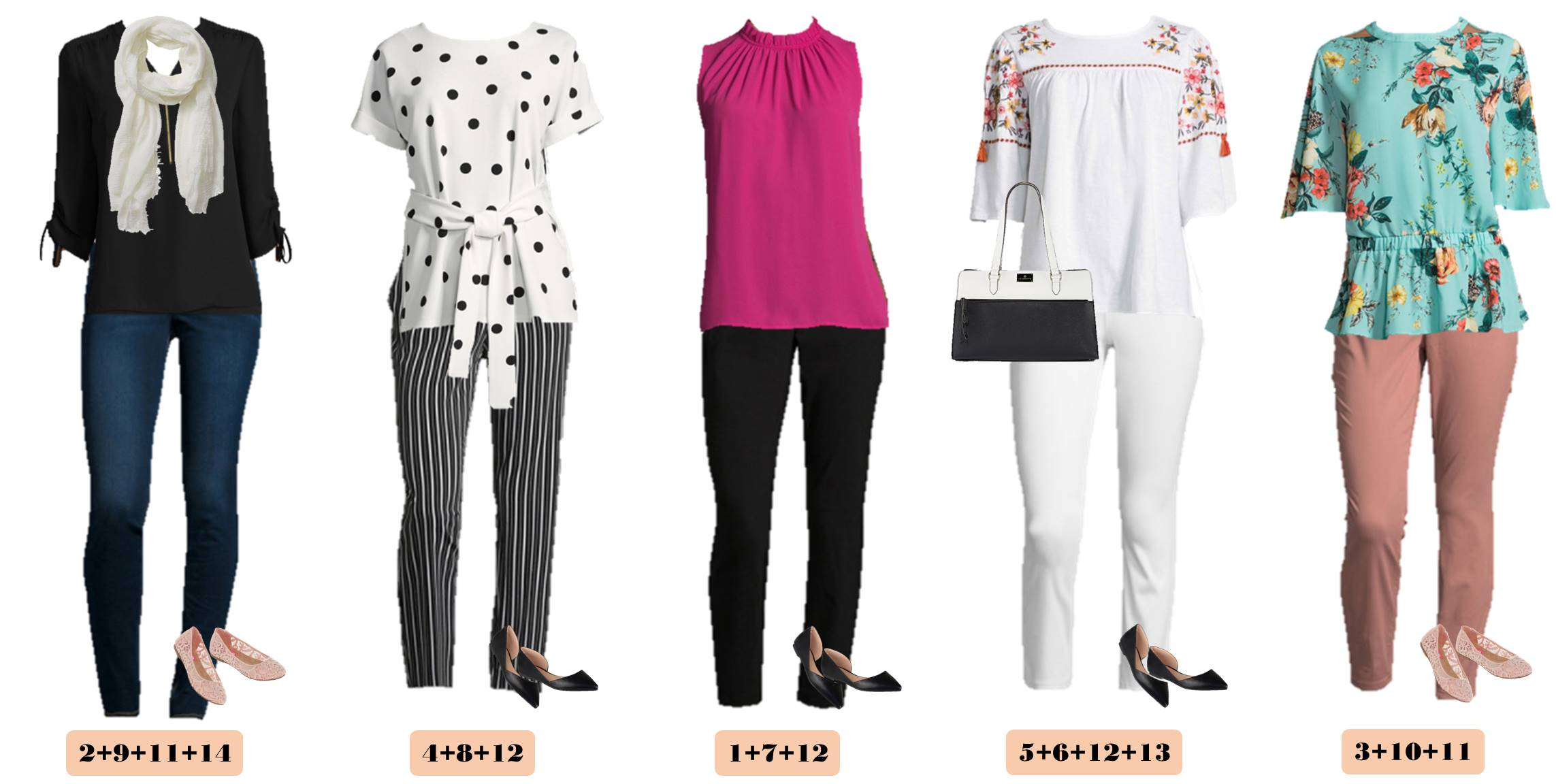 JCPenney spring outfits that mix and match - floral top and polk dots