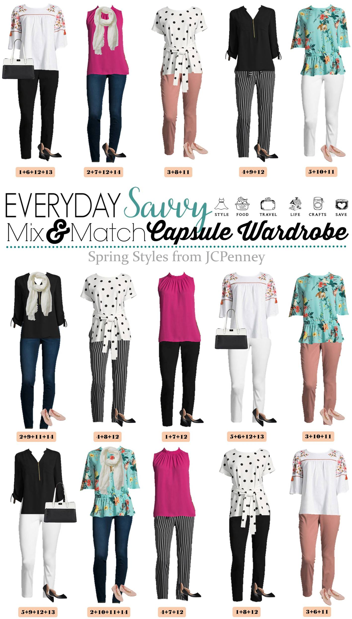 spring outfits from JCPenney- 15 mix and match outfits
